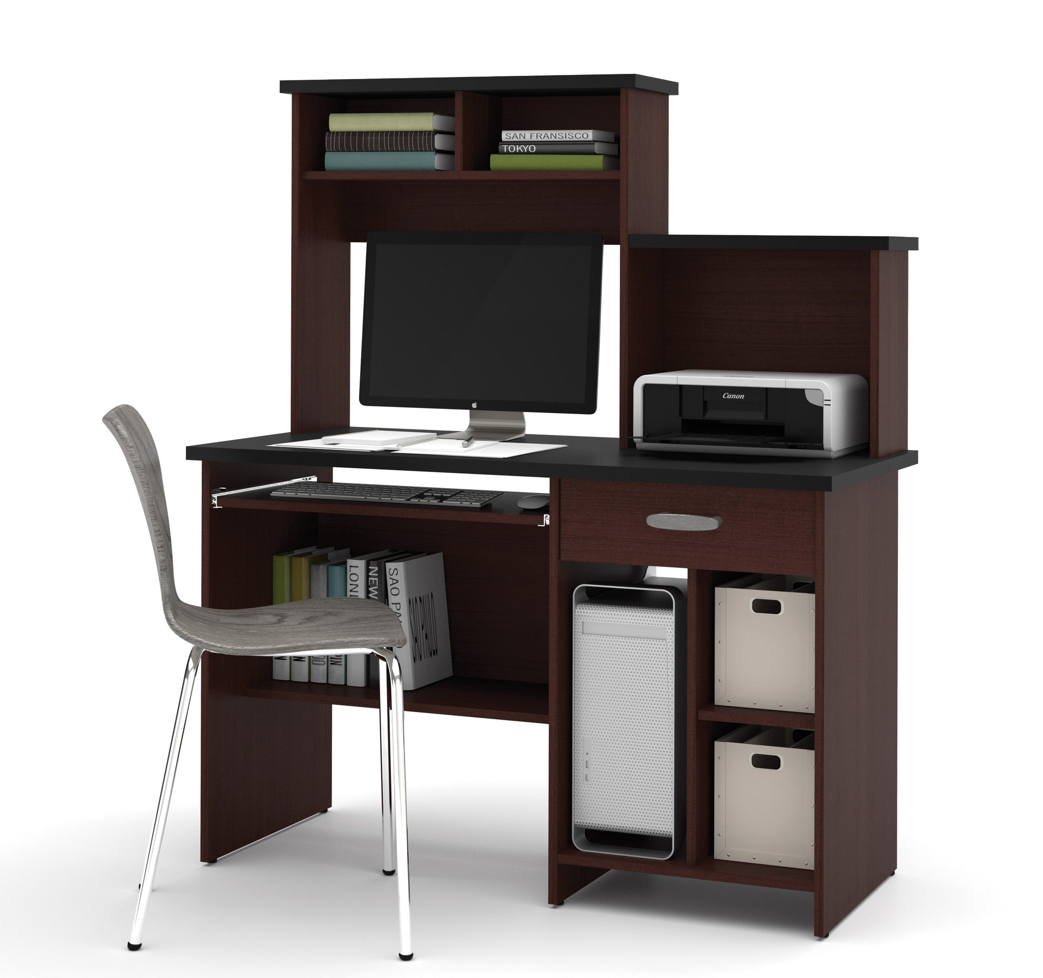 Active Collection Contemporary Desk with Hutch in Black & Soya