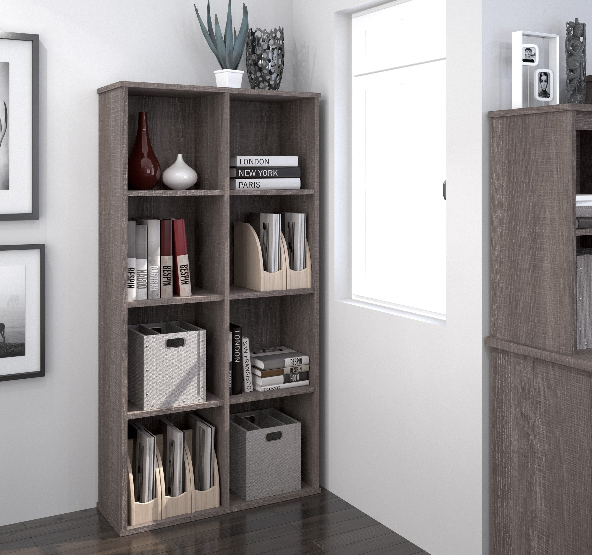 "Cubby Style 4 Shelf 63"" Tall Bookcase in Bark Gray"