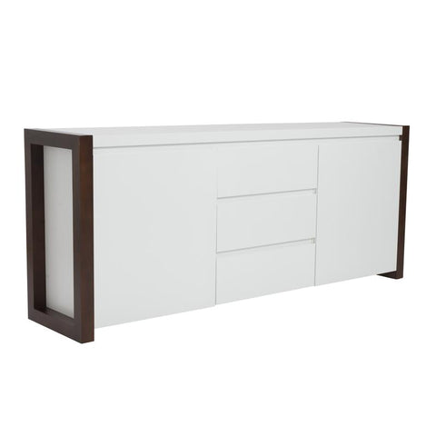 Striking White Storage Credenza w/ Walnut Frame