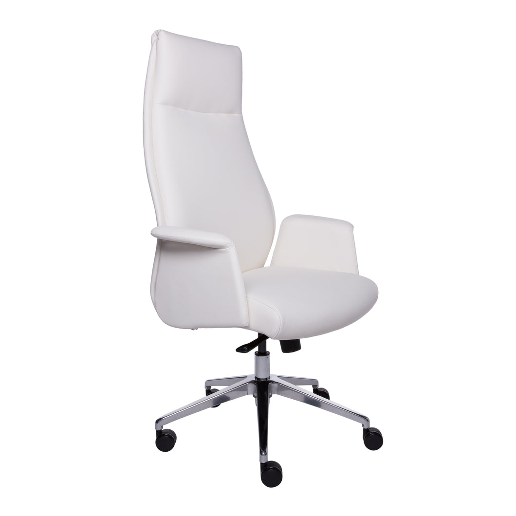 High-Backed Office Chair in White Leatherette