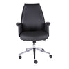 Low-Backed Office Chair in Dark Gray Leatherette