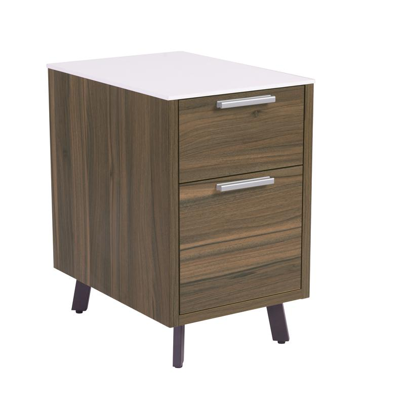 Charming 2-Drawer Walnut w/ White Top Office Filing Cabinet