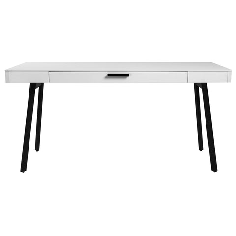 "Minimalist 63"" White Office Desk w/ Black Base"
