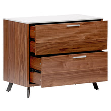 Load image into Gallery viewer, Sturdy & Wide 2-Drawer Walnut Office Filing Cabinet w/ White Top