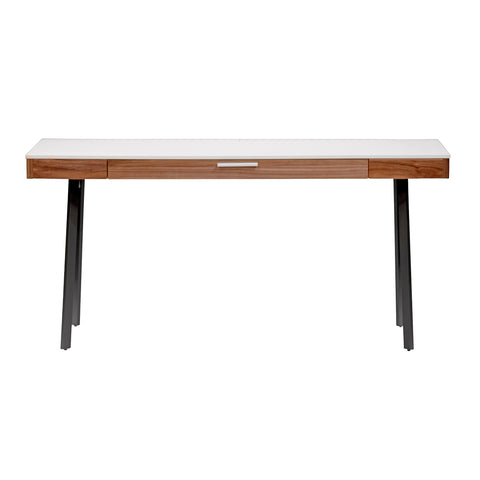 "Modern 63"" White & Walnut Executive Desk"