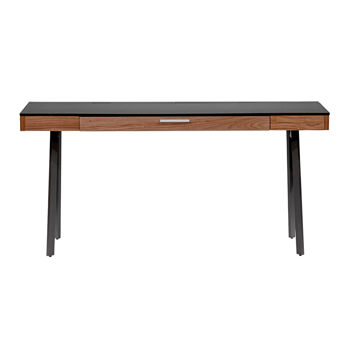 "Modern 63"" Black & Walnut Executive Desk"