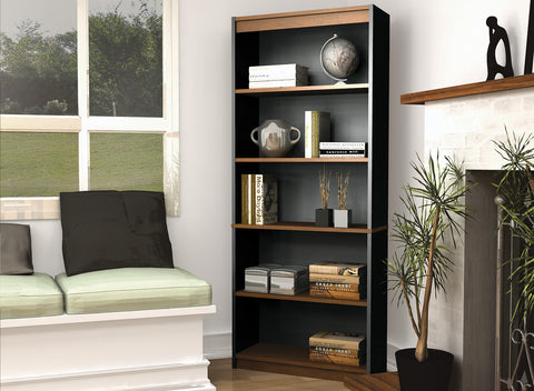 "72"" Five-Shelf Bookcase in Tuscany Brown & Black"