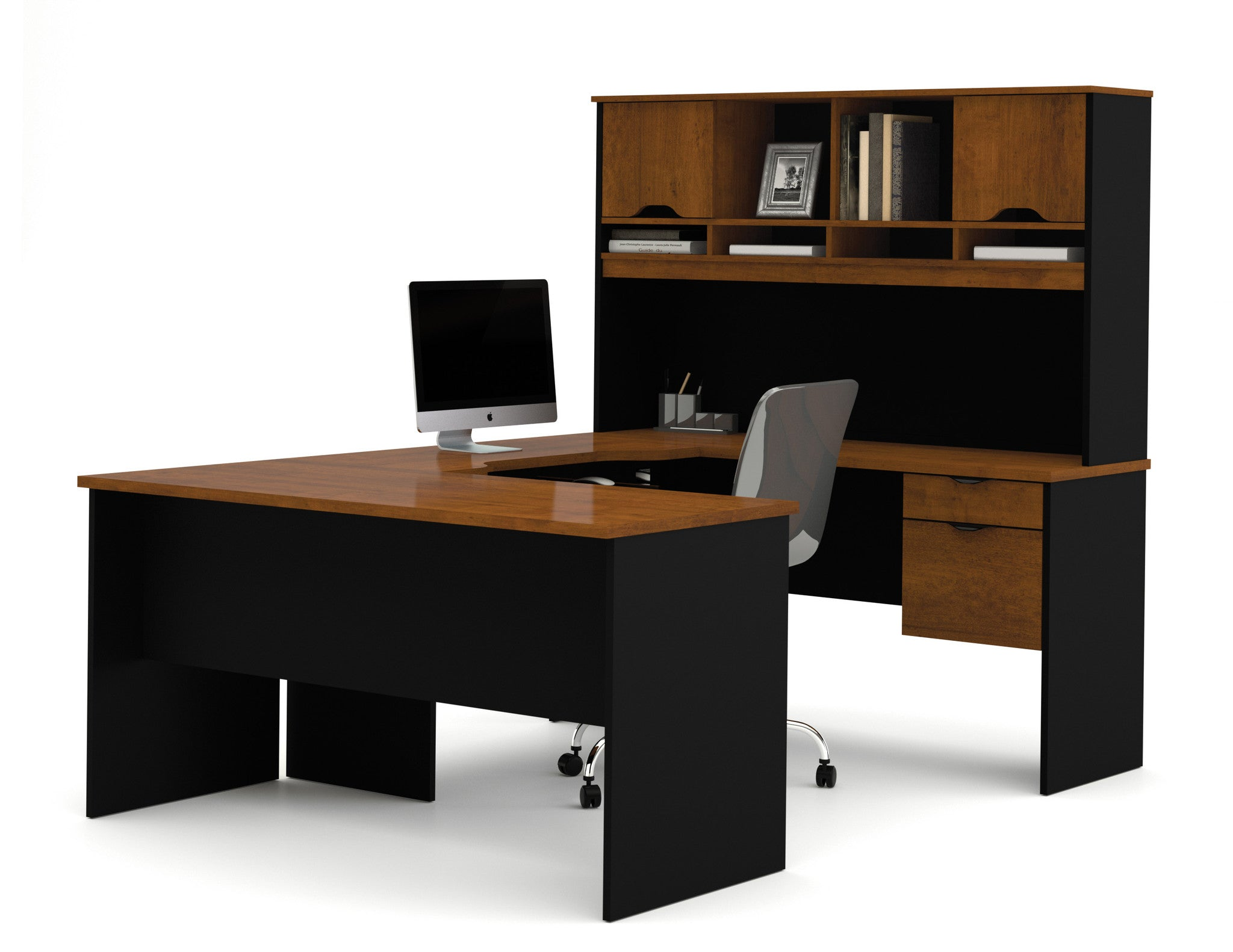 Innova Collection Tuscany Brown and Black U-Shaped Desk with Hutch