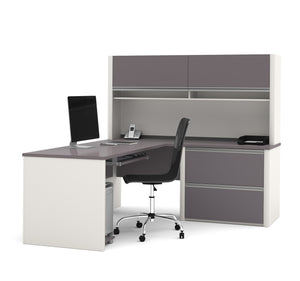 Connexion Brown-Slate or Slate-Sandstone L-shaped Workstation with Oversize Drawers and Hutch