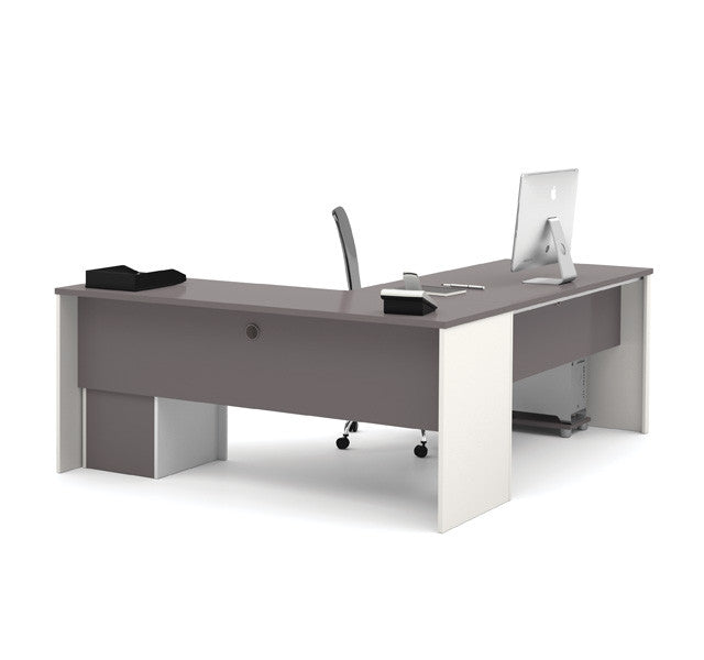 Modern L-Shaped Desk With Drawers In Slate & Sandstone