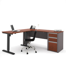 Load image into Gallery viewer, Modern Bordeaux & Slate Office Desk with Included Height Adjustable Desk