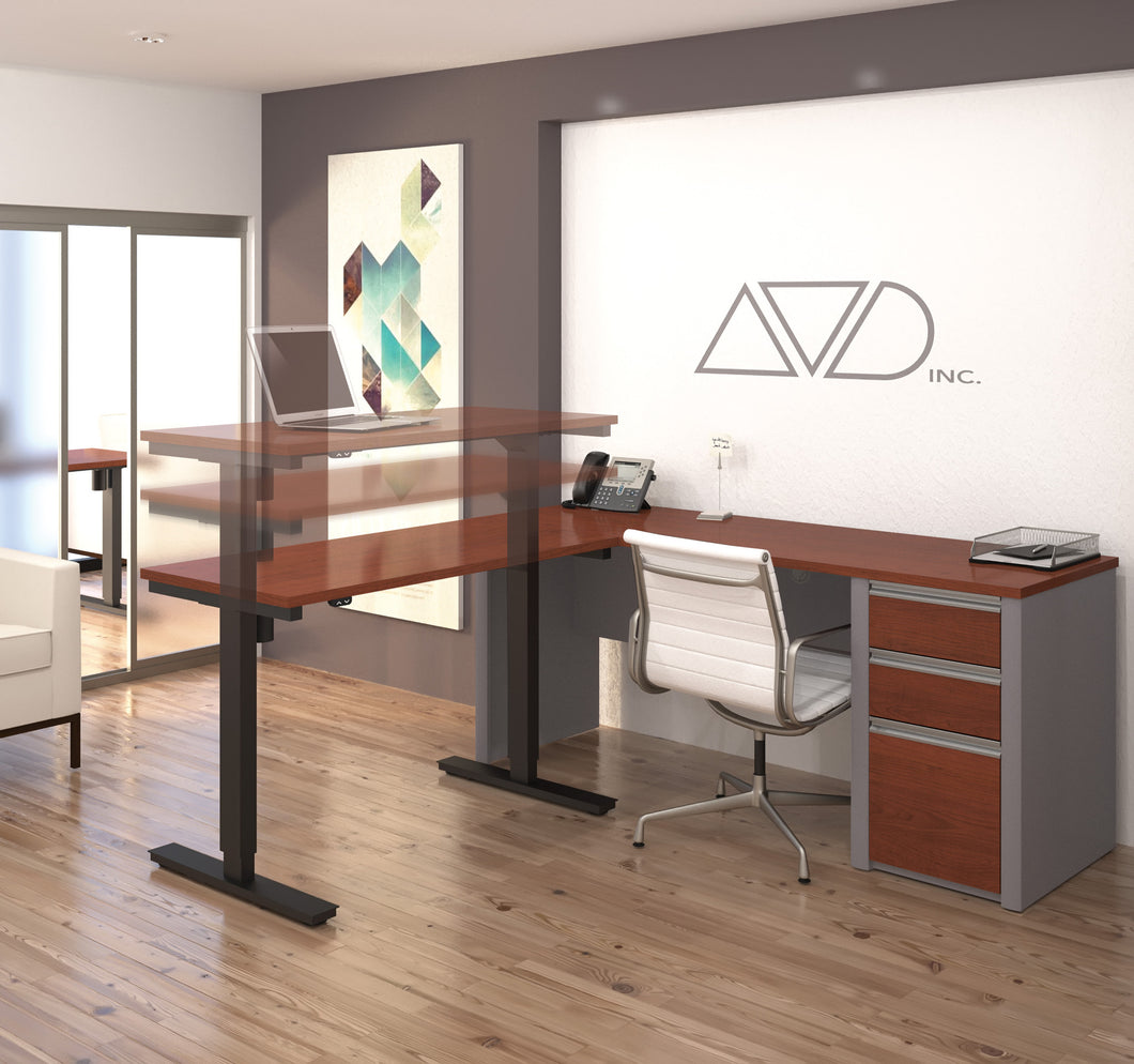 Modern Bordeaux & Slate Office Desk with Included Height Adjustable Desk