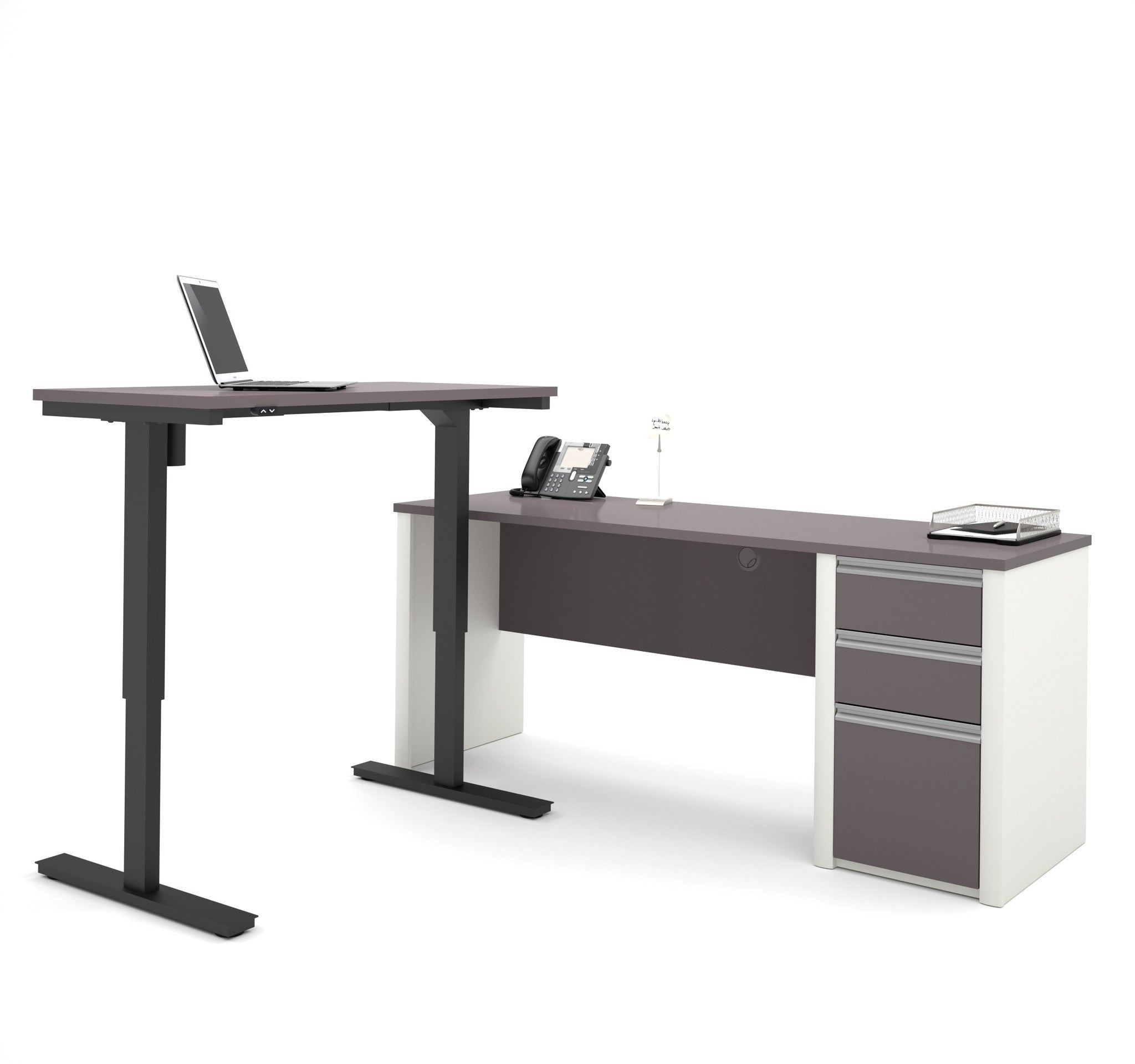 Modern Office Desk: Modern Slate & Sandstone Office Desk With Included Height