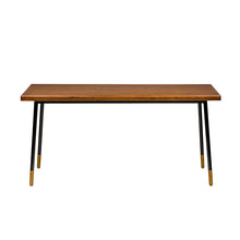 "Load image into Gallery viewer, 71"" Solid Poplar Desk with Black Base and Bronze Accents"