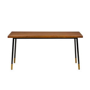 "71"" Solid Poplar Desk with Black Base and Bronze Accents"