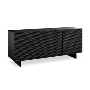Modern Black Credenza with Metal Legs and Wave Pattern