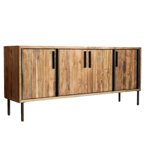 Stunning Storage Credenza of Reclaimed Teak & Iron