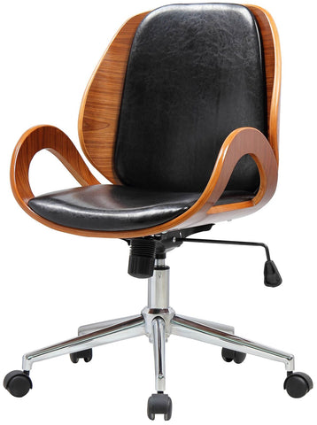 Black Leatherette and Walnut Veneer Office Chair