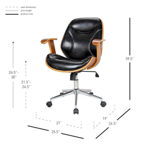 Bold Black Leatherette and Walnut Veneer Office Chair