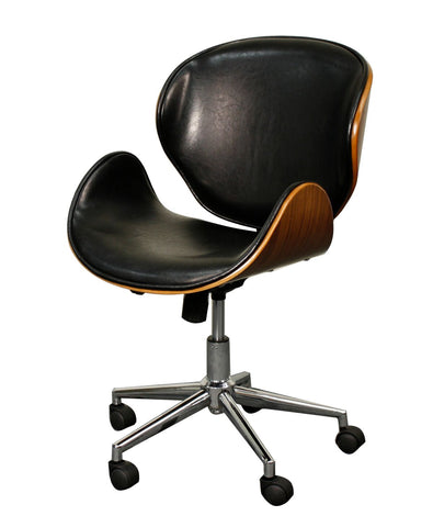 Wheeled Office Chair w/ Black Leatherette and Walnut