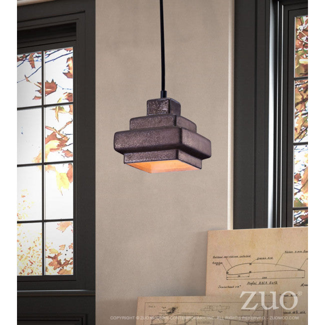 Charming Antique Black Hanging Pendant Lamp w/ Stepped Design