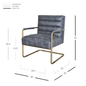 Comfortable Padded Office Chair in Vintage Midnight & Gold