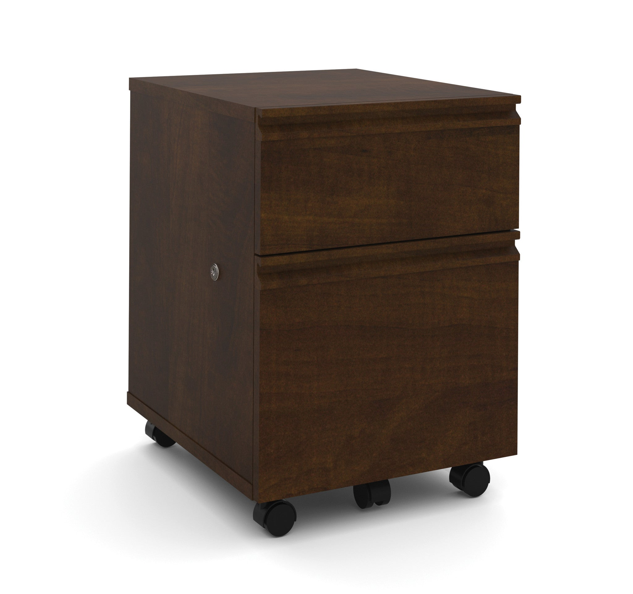 Locking Mobile File Cabinet in Chocolate