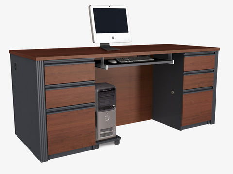 Prestige Bordeaux & Graphite Modern Executive Desk