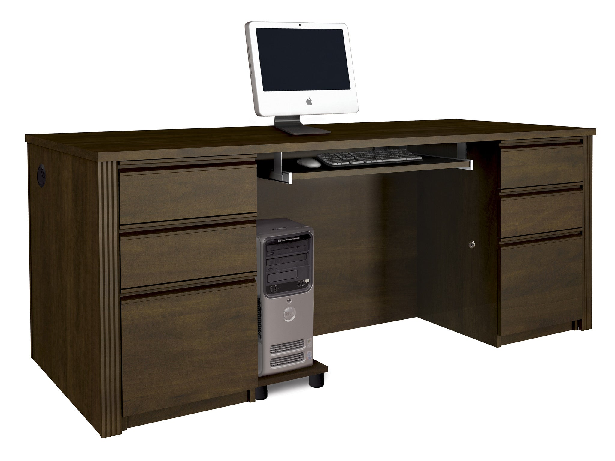 Prestige Modern Double Pedestal Desk in Chocolate