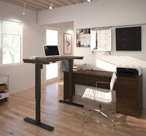 Modern Chocolate Office Desk with Included Height Adjustable Desk