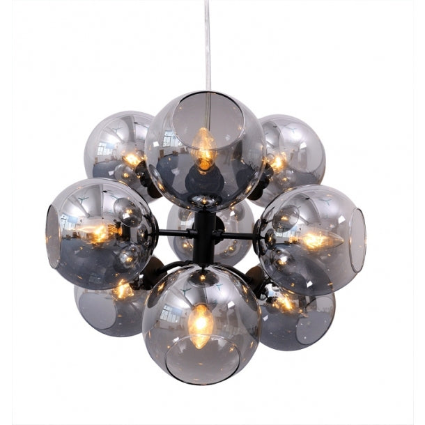 Cluster-Style Pendant Light in Gray Glass and Black Stainless Steel