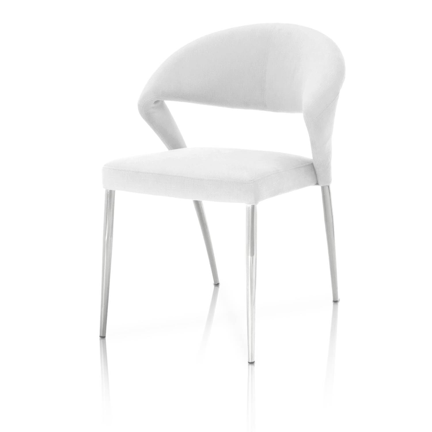 Graceful Conference Chair in White with Chrome Finish (Set of 2)