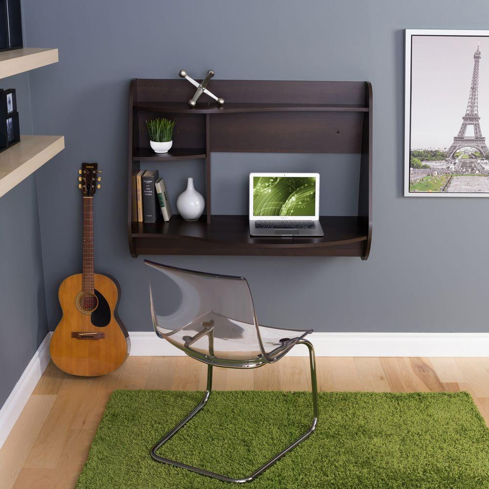 Modern Wall Mounted Espresso Office Desk