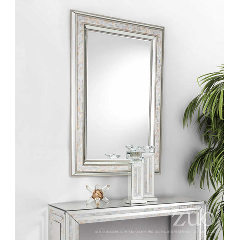 Sophisticated Office Mirror w/ Silver & Pearl Frame