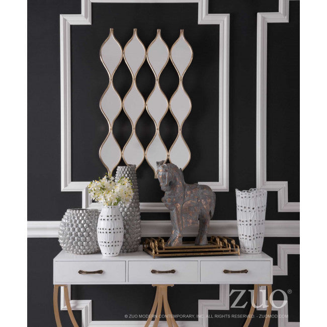 Gold-Framed Mirror with Decorative Undulating Design