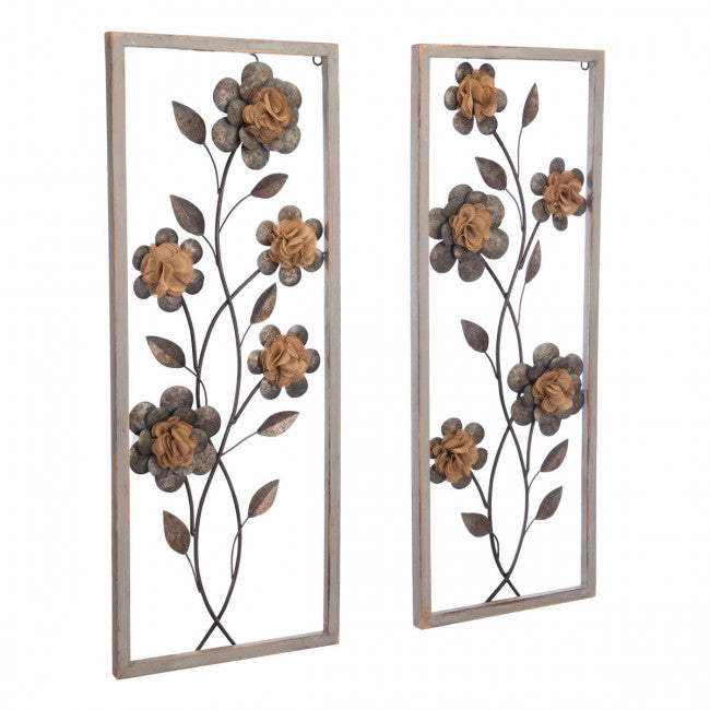 Antique-Style Two Panel Wall Art w/ Floral Design