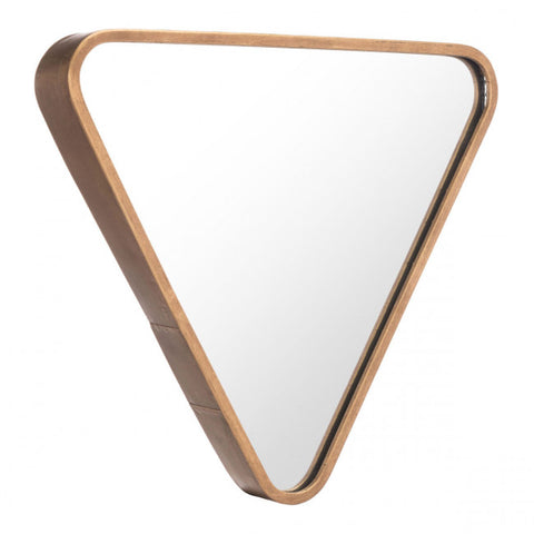 Sleek Triangle-Shaped Gold-Framed Mirror