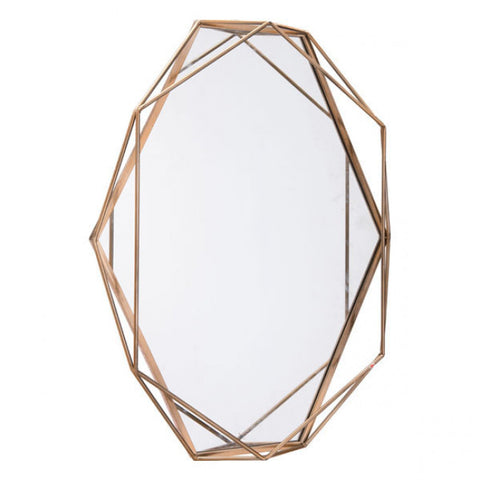 Elegant Office Mirror w/ Gold Frame & Octagonal Shape