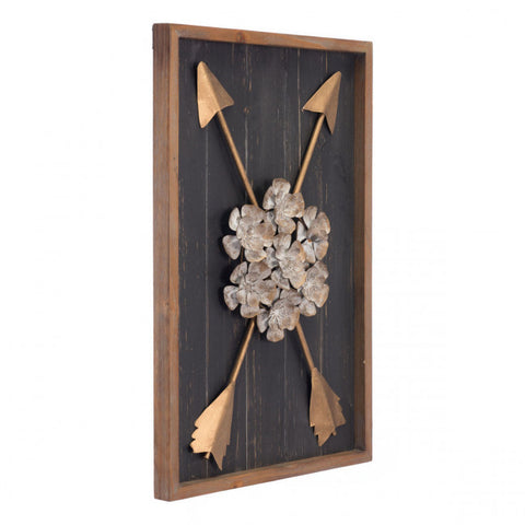Arrow & Floral Design on Fir Wood & Steel Wall Art