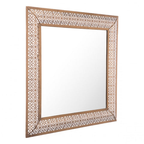 Square Moroccan-Inspired Gold-Framed Mirror