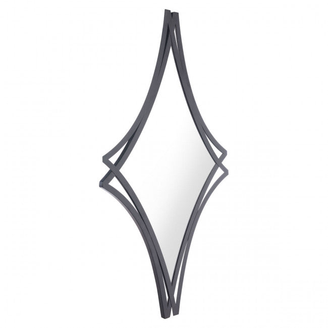 Diamond-Shaped Mirror w/ Black Dual Frame