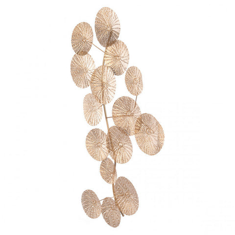 Exquisite Office Wall Art of Perforated Gold Leaves