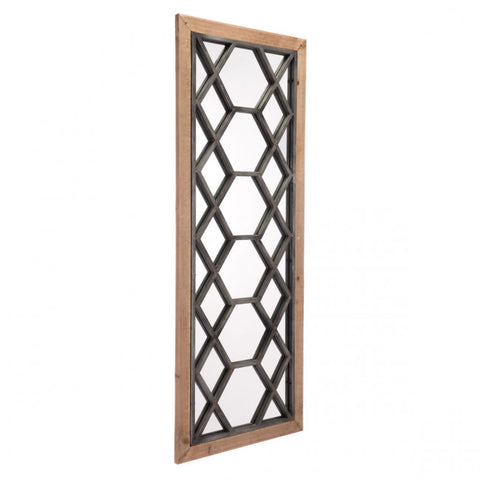 Bold Mirror w/ Brown Frame & Eye-Catching Fretwork