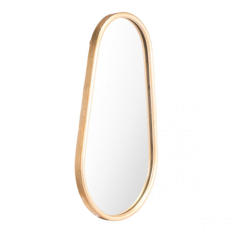 Sleek Teardrop-Shaped Gold-Framed Mirror