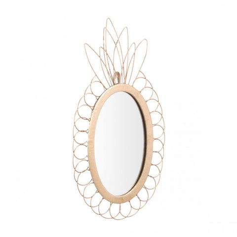 Cheerful Gold Office Mirror w/ Pineapple Design