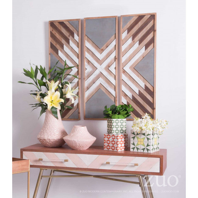 Brown & White Wood Wall Art in X Design
