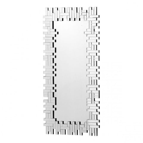 Puzzle-Style Mirror w/ Frame of Small Rectangular Mirrored Pieces