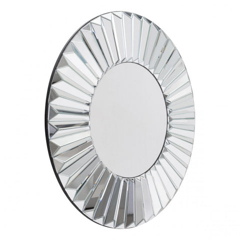 Silver Mirror Framed w/ Radiating Ridges