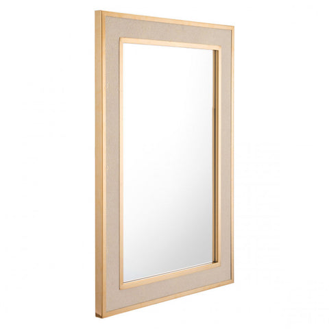 Rectangular Office Mirror w/ Wide Cream & Gold Frame