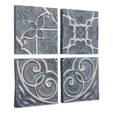 Set of 4 Painted Blue $ Gray Wall Art Tiles